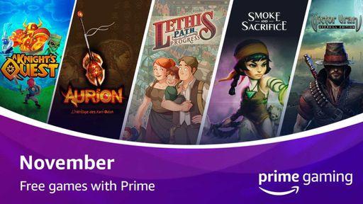 Amazon prime gaming libera mais cinco jogos de graça em novembro